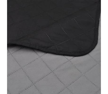 Zweiseitige Steppdecke Bettüberwurf Tagesdecke Schwarz/Grau 170x210cm[4/4]