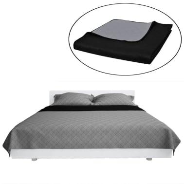 Zweiseitige Steppdecke Bettüberwurf Tagesdecke Schwarz/Grau 170x210cm[2/4]