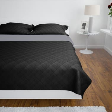 Zweiseitige Steppdecke Bettüberwurf Tagesdecke Schwarz/Grau 170x210cm[3/4]