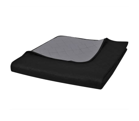 Couvre-lits à double côtés Noir/Gris 220 x 240 cm[1/4]