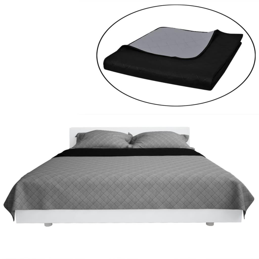 Oboustranný přehoz na postel černo-šedý 220 x 240 cm