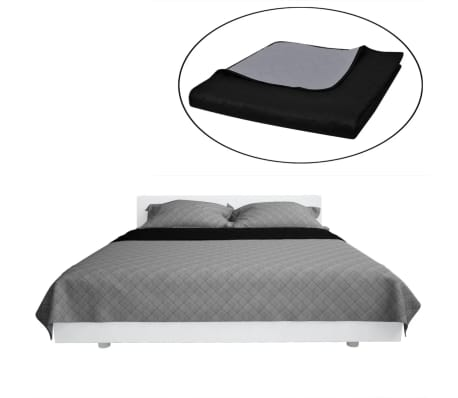 Couvre-lits à double côtés Noir/Gris 220 x 240 cm[2/4]