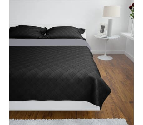 Zweiseitige Steppdecke Bettüberwurf Tagesdecke Schwarz/Grau 220x240cm[3/4]