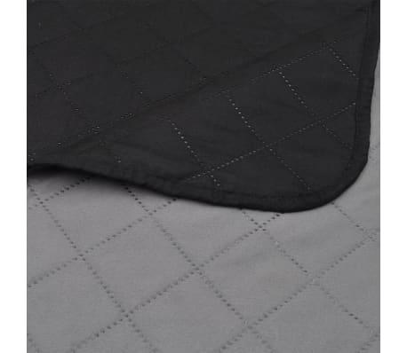 Couvre-lits à double côtés Noir/Gris 220 x 240 cm[4/4]