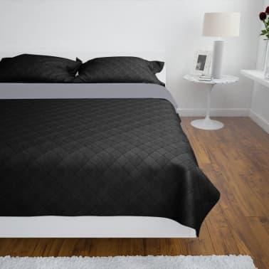 Dobbeltsidet quiltet sengetæppe sort/grå 230 x 260 cm[3/4]