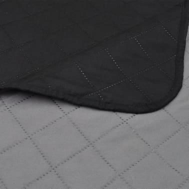 Dobbeltsidet quiltet sengetæppe sort/grå 230 x 260 cm[4/4]