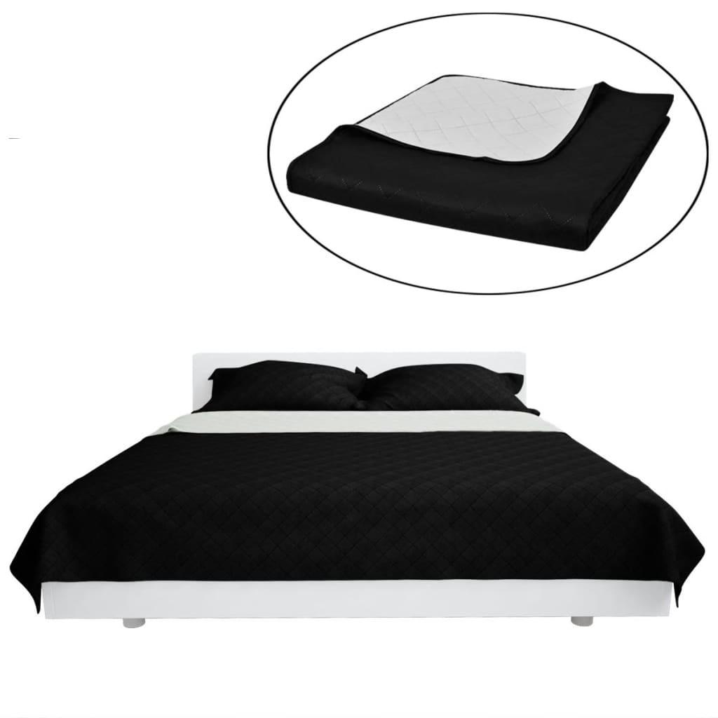vidaXL Bedsprei gewatteerd dubbelzijdig 170x210 cm zwart/wit