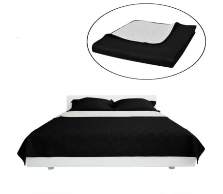 zweiseitige steppdecke bett berwurf tagesdecke schwarz. Black Bedroom Furniture Sets. Home Design Ideas