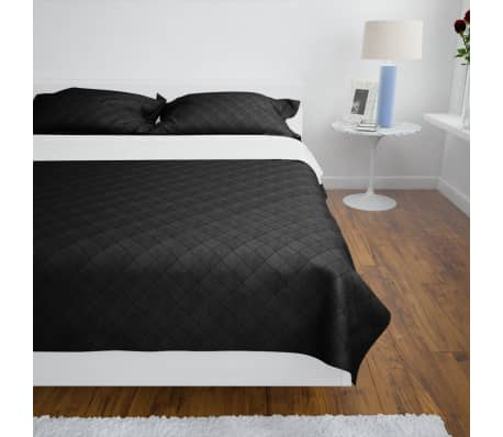 Dwustronna pikowana narzuta na łóżko Czarna/Biała 220 x 240 cm[3/4]