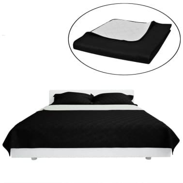 Dwustronna pikowana narzuta na łóżko Czarna/Biała 220 x 240 cm[2/4]