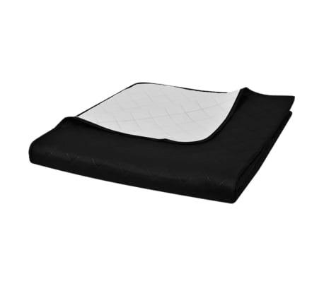 acheter couvre lits double c t s noir blanc 230 x 260 cm pas cher. Black Bedroom Furniture Sets. Home Design Ideas