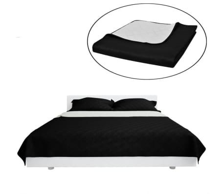 sort sengetæppe Shop Dobbeltsidet quiltet sengetæppe sort/hvid 230 x 260 cm | vidaXL sort sengetæppe