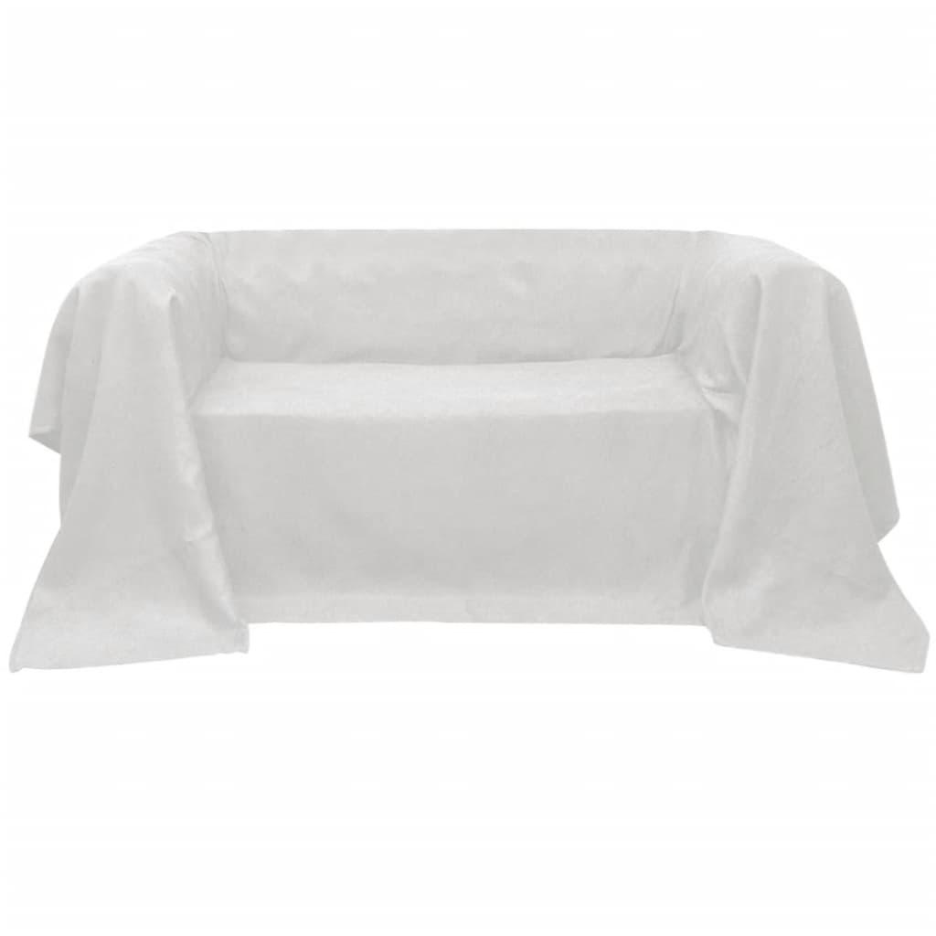 99130890 Micro-Suede Sofaüberwurf Tagesdecke Creme 210 x 280 cm
