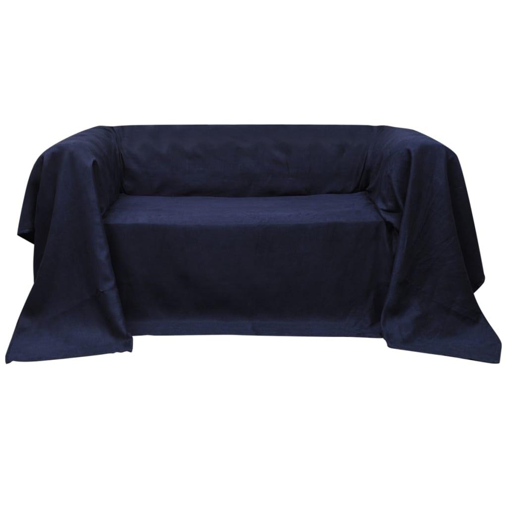 99130898 Micro-Suede Sofaüberwurf Tagesdecke Marineblau 140 x 210 cm