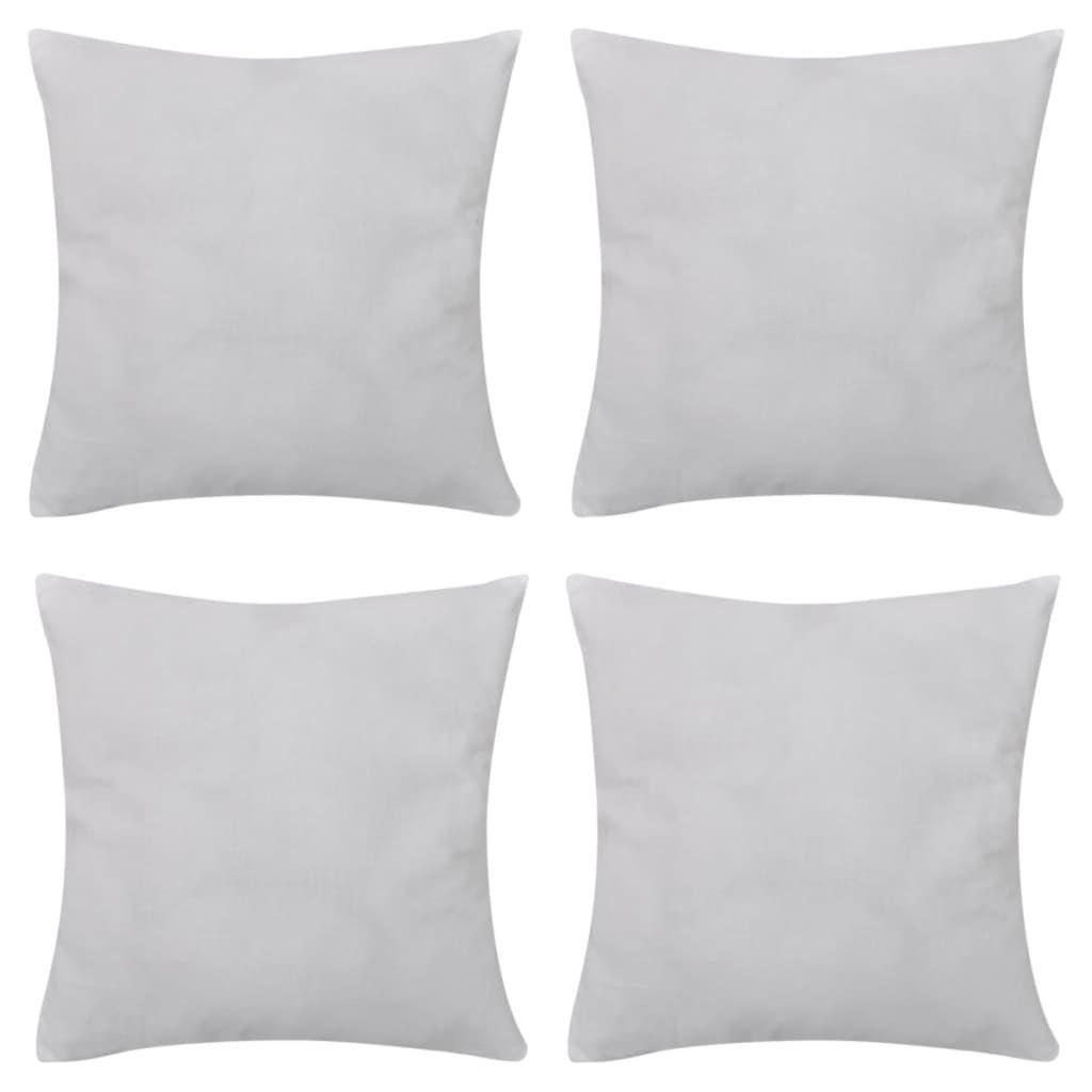 4 bílé povlaky na polštářky bavlna 80 x 80 cm