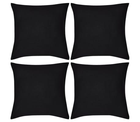 4 Black Cushion Covers Cotton 50 x 50 cm