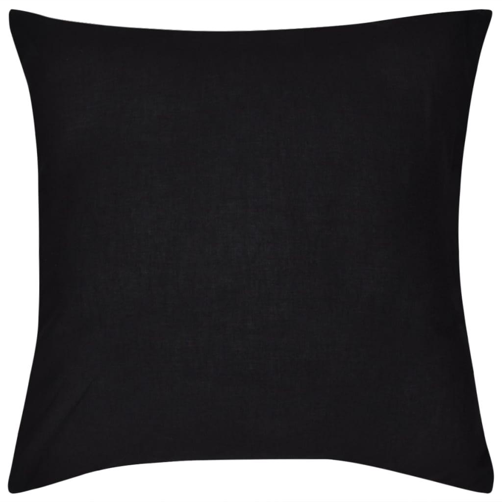 vidaXL Kussenhoezen katoen 50 x 50 cm zwart 4 stuks