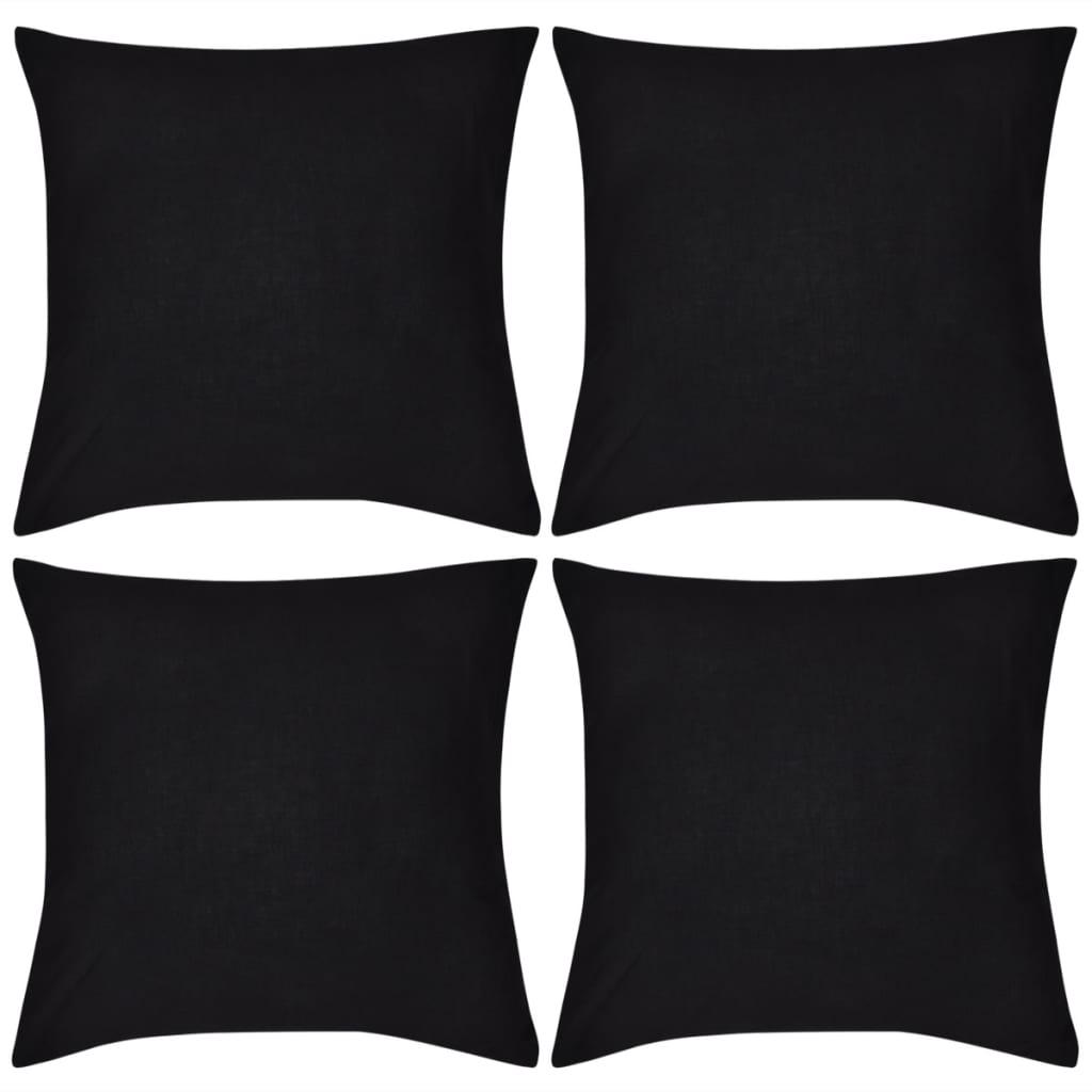99130906 4 schwarze Kissenbezüge Baumwolle 80 x 80 cm