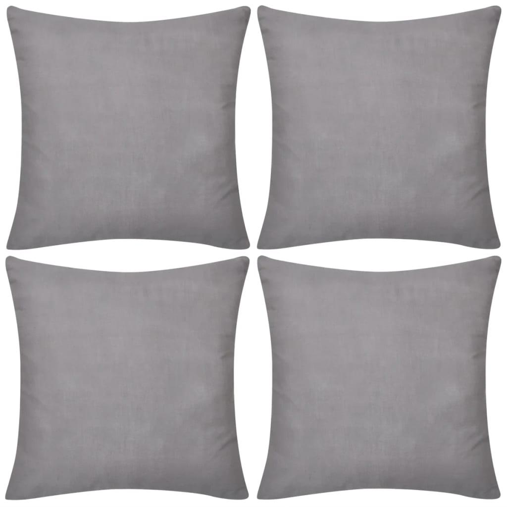 99130908 4 graue Kissenbezüge Baumwolle 50 x 50 cm