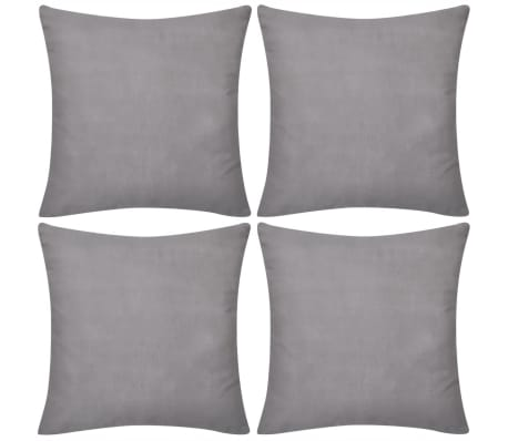 4 Grey Cushion Covers Cotton 50 x 50 cm