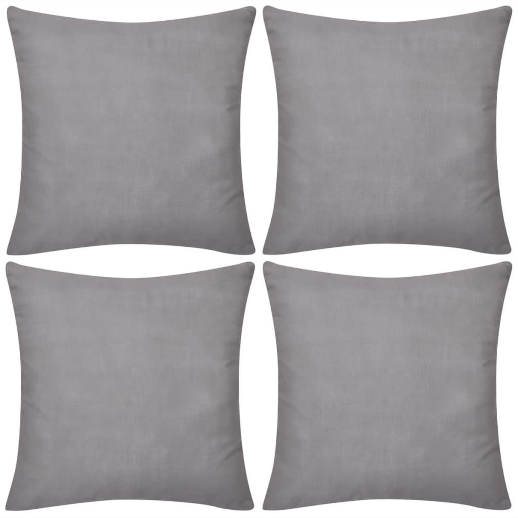 99130909 4 graue Kissenbezüge Baumwolle 80 x 80 cm