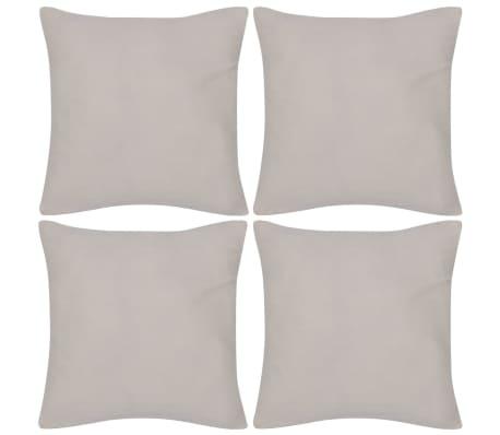 4 Beige Cushion Covers Cotton 40 x 40 cm