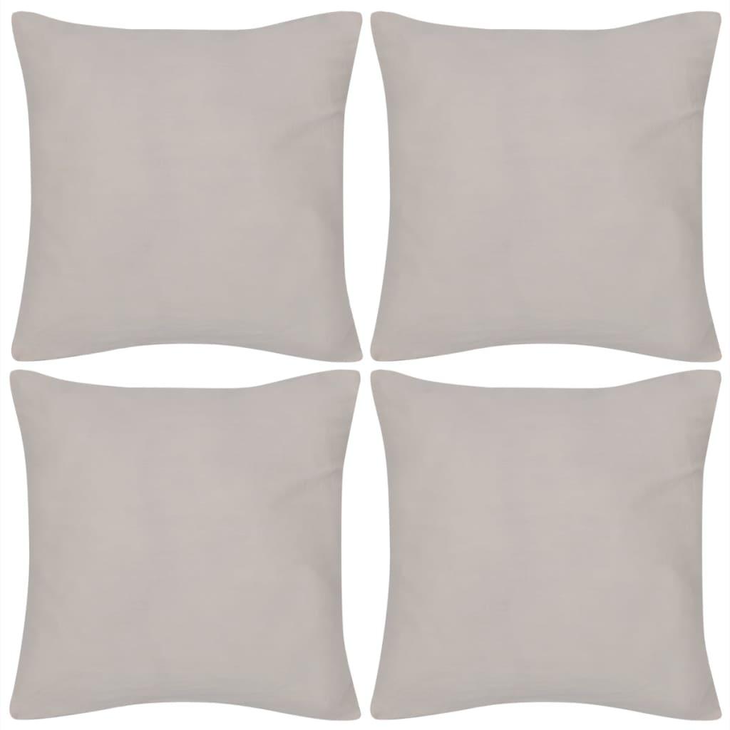 4 béžové povlaky na polštářky bavlna 50 x 50 cm