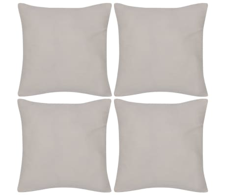 4 Beige Cushion Covers Cotton 80 x 80 cm