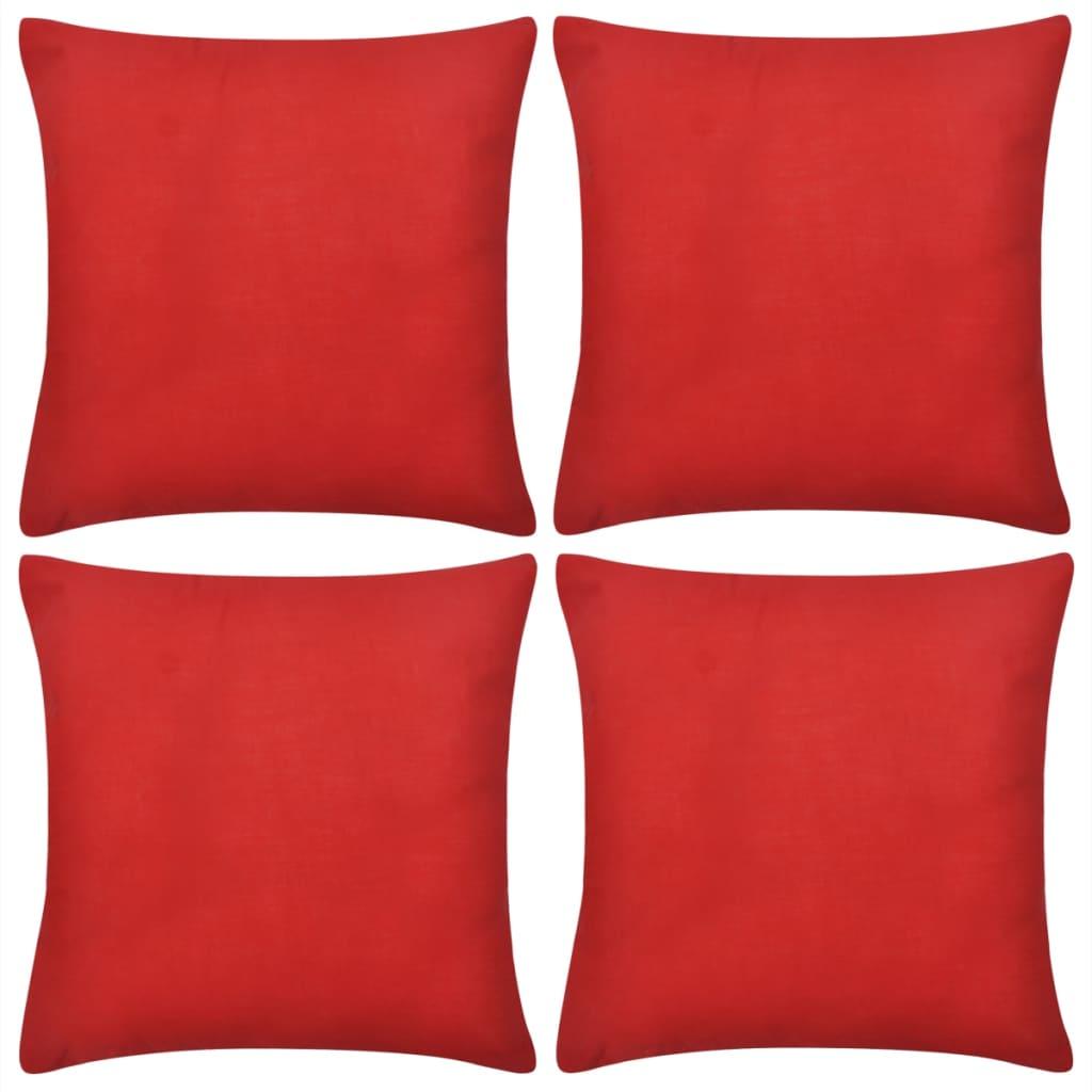 Huse de pernă din bumbac, 80 x 80 cm, roșu, 4 buc. poza vidaxl.ro