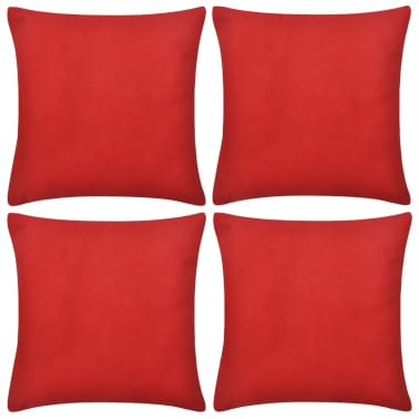 4 Crvene Jastučnice Pamuk 80 x 80 cm[1/3]