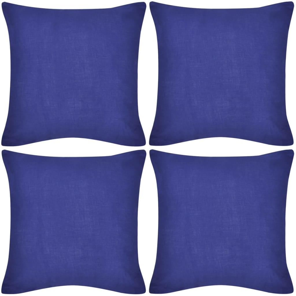 999130920 4 blaue Kissenbezüge Baumwolle 50 x 50 cm