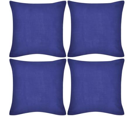 4 Blue Cushion Covers Cotton 50 x 50 cm