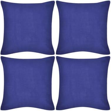 4 Plave Jastučnice Pamuk 50 x 50 cm[1/3]