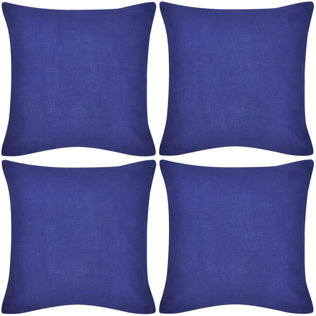 99130921 4 blaue Kissenbezüge Baumwolle 80 x 80 cm
