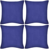4 Blue Cushion Covers Cotton 80 x 80 cm