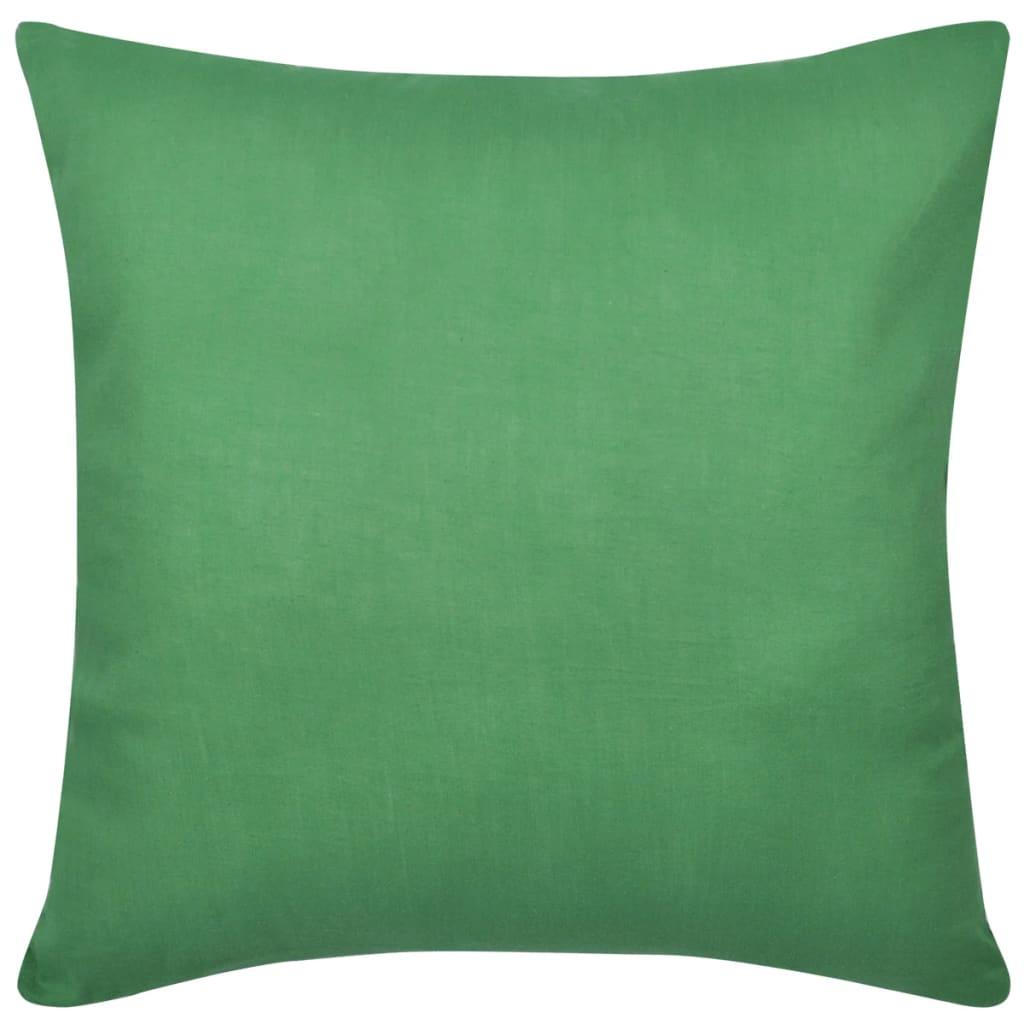 vidaXL Kussenhoezen katoen 40 x 40 cm groen 4 stuks