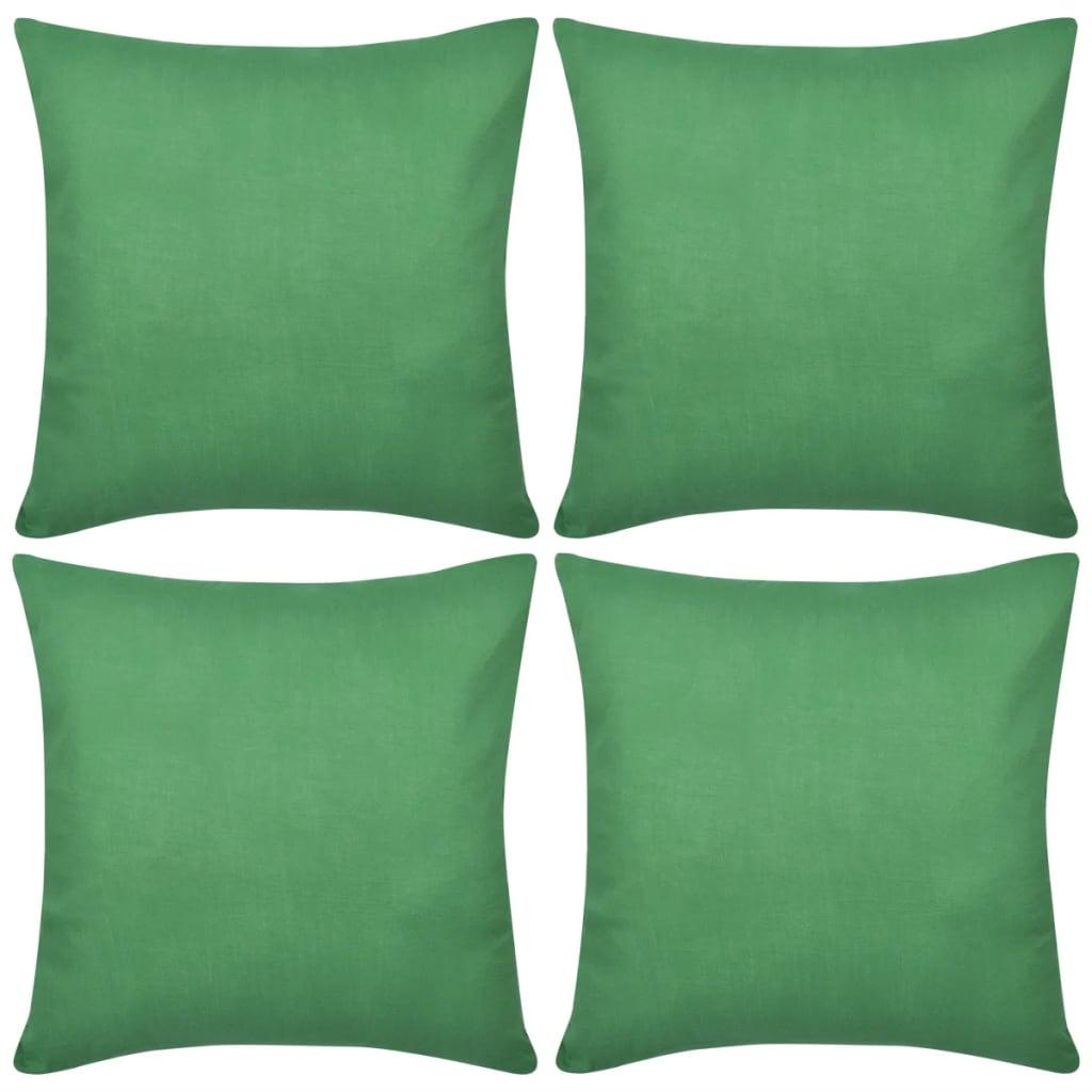 999130923 4 grüne Kissenbezüge Baumwolle 50 x 50 cm