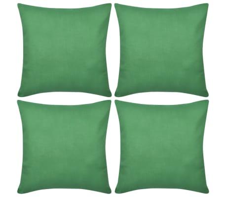 4 Green Cushion Covers Cotton 80 x 80 cm