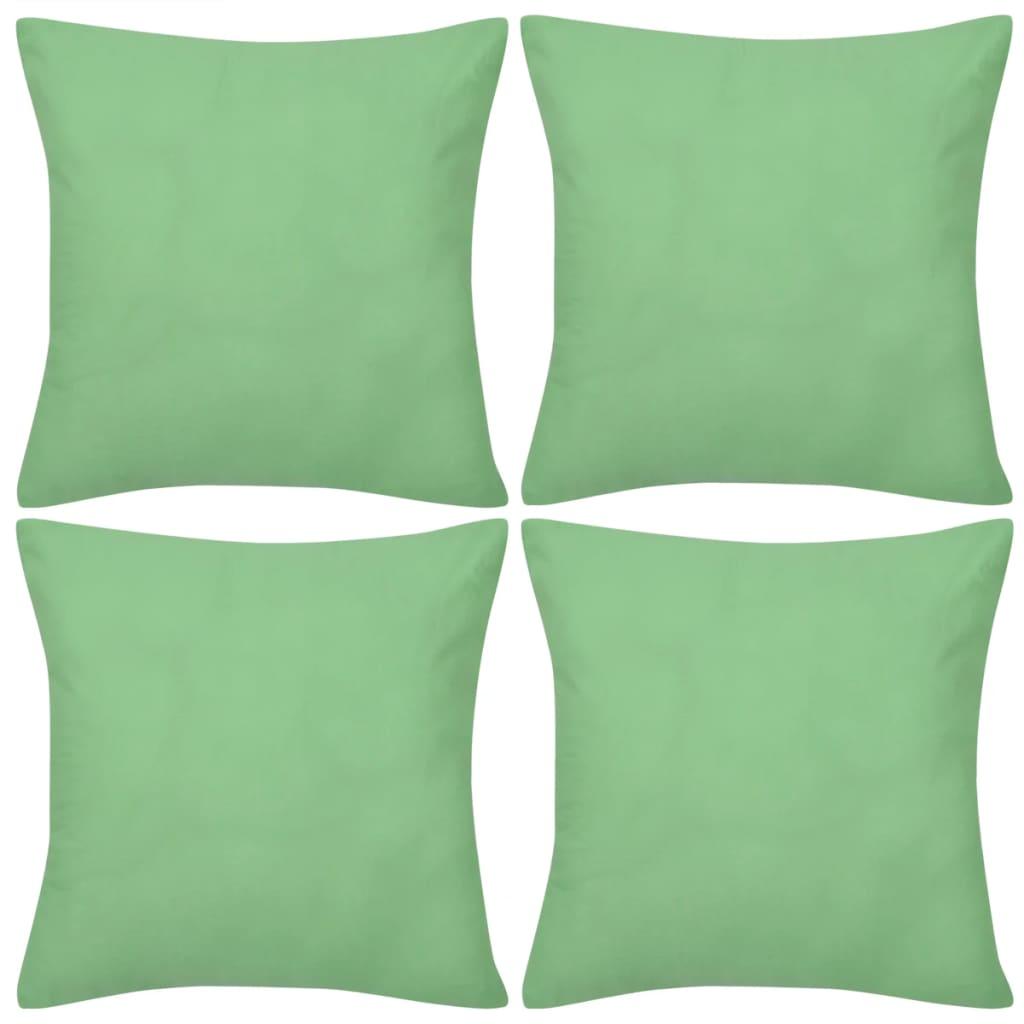 vidaXL Καλύμματα Μαξιλαριών 4 τεμ. Πράσινα Λαχανί 80 x 80 εκ. Βαμβακερά