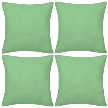 4 fundas verde manzana para cojines de algodón, 80 x 80 cm[1/3]