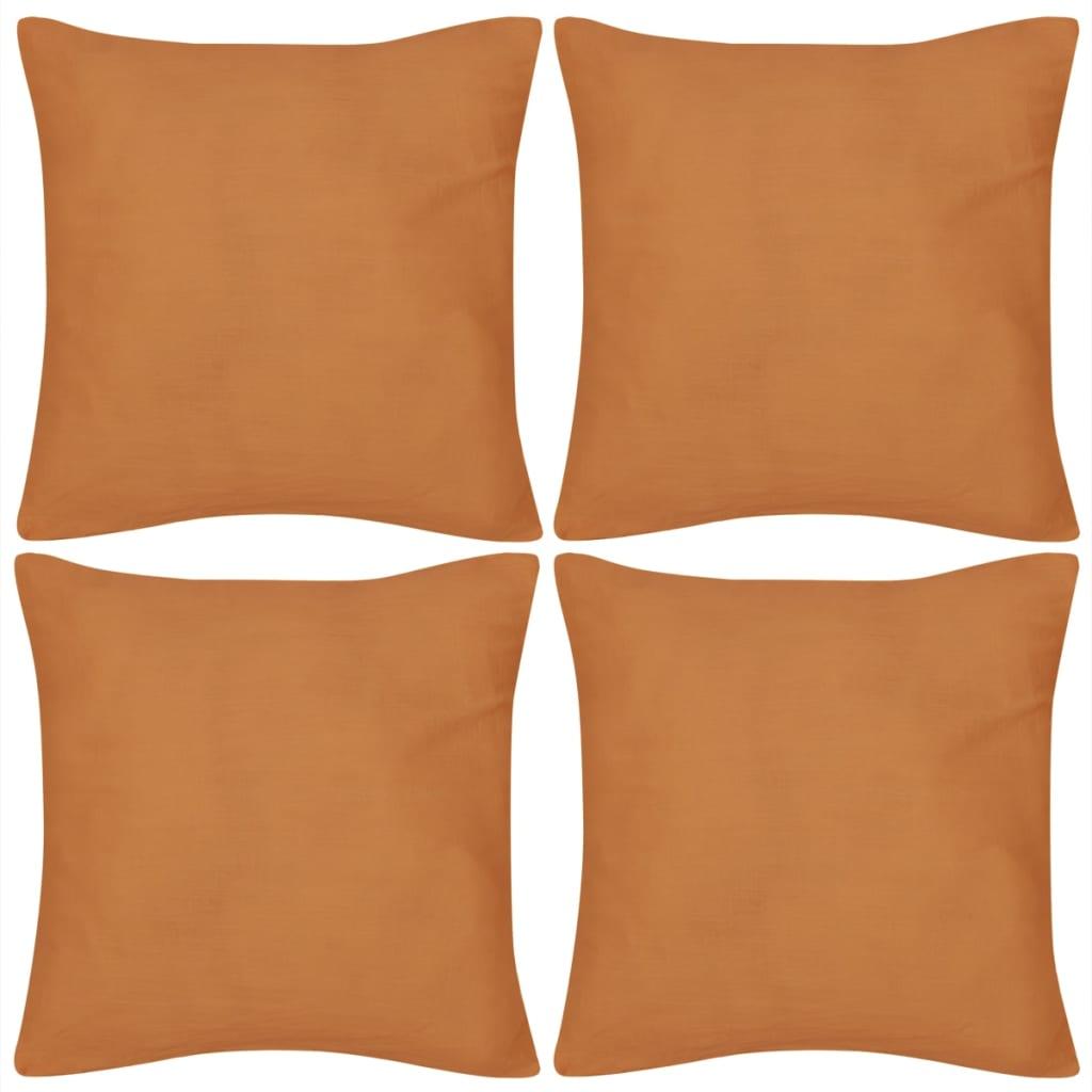 4 oranžové povlaky na polštářky bavlna 50 x 50 cm