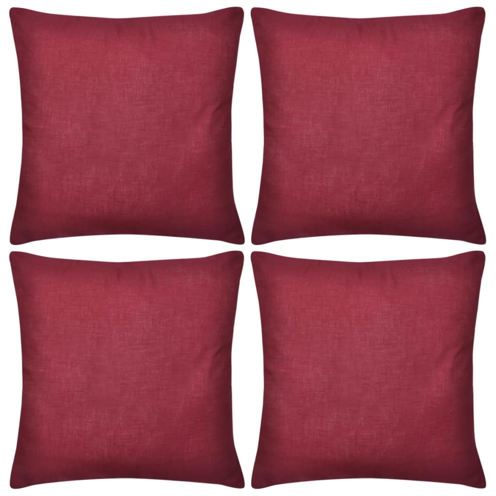 4 vínové povlaky na polštářky bavlna 40 x 40 cm