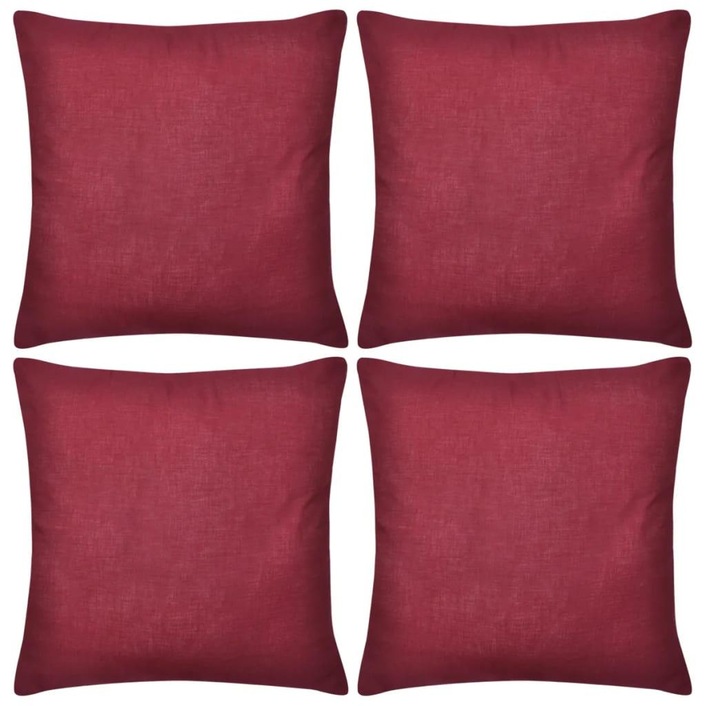 vidaXL Povlaky na polštářky 4 ks bavlna 50 x 50 cm vínové