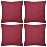 4 Burgundy Cushion Covers Cotton 80 x 80 cm