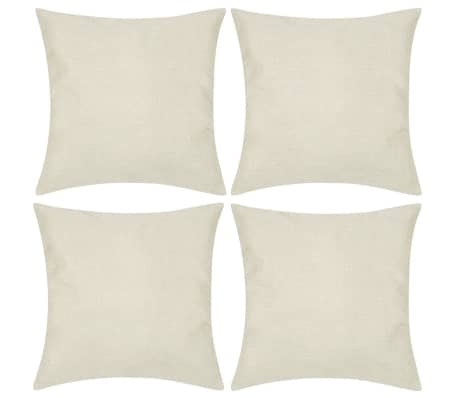 4 Beige Cushion Covers Linen-look 40 x 40 cm