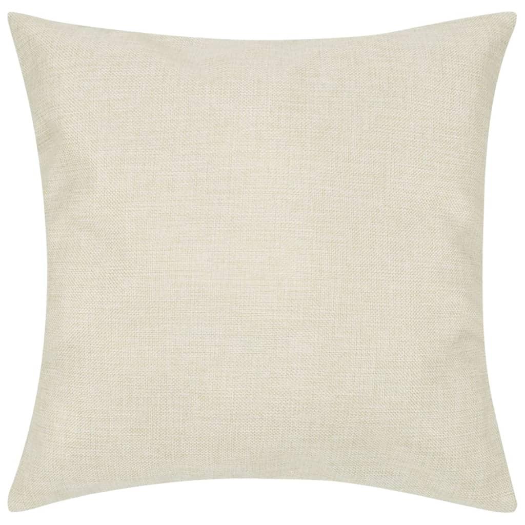 4 béžové povlaky na polštářky, se vzhledem lnu 40 x 40 cm