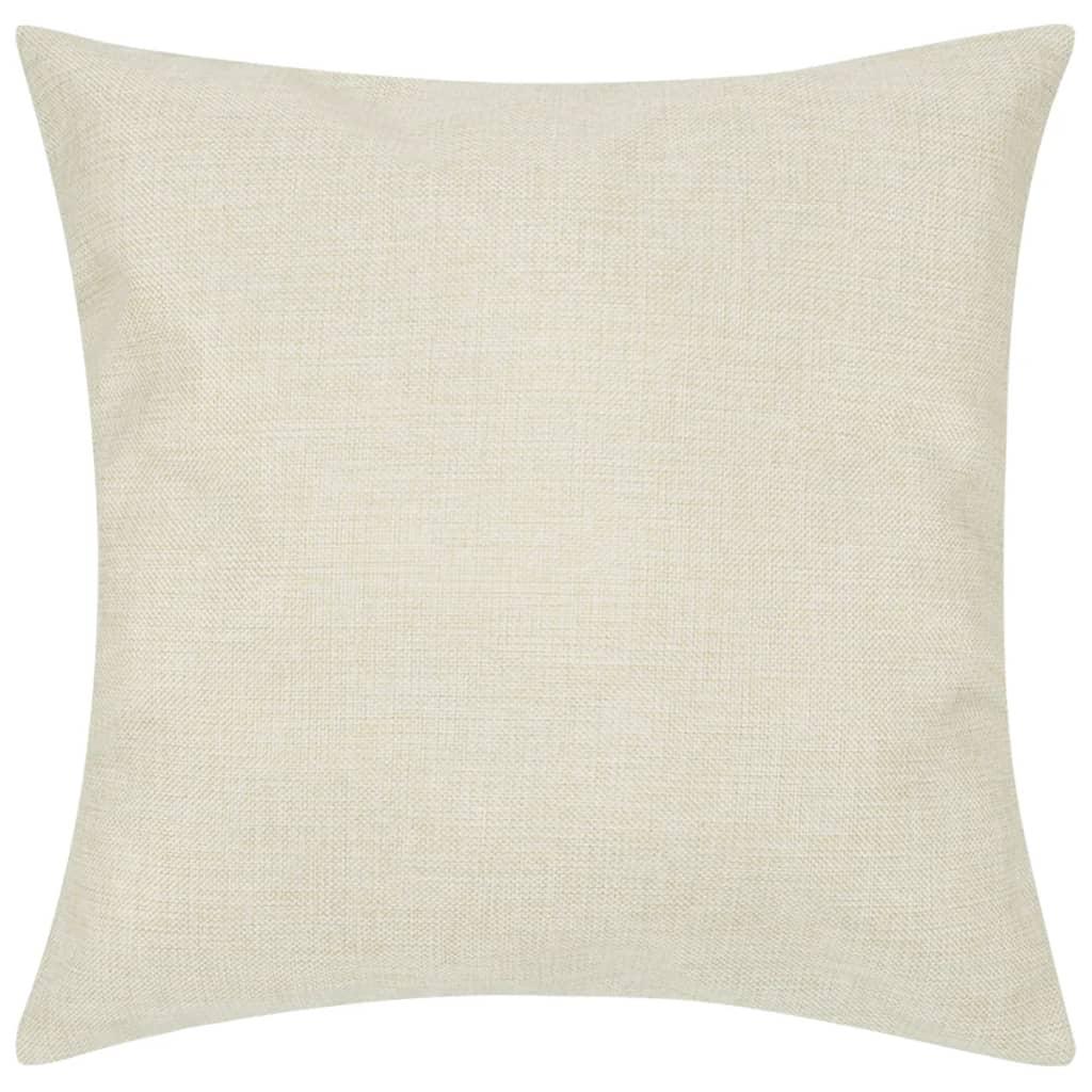 4 béžové povlaky na polštářky, se vzhledem lnu 80 x 80 cm