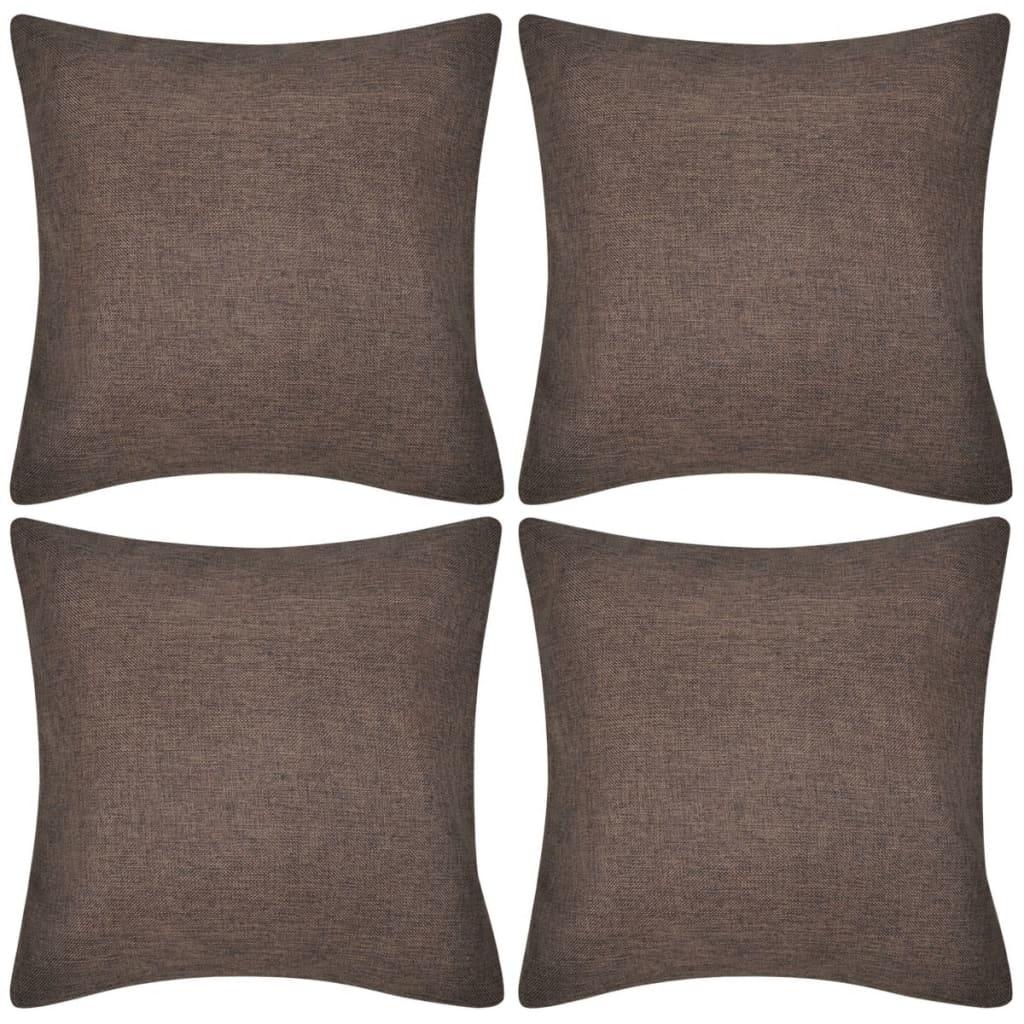999130940 4 braune Kissenbezüge Leinenoptik 40 x 40 cm