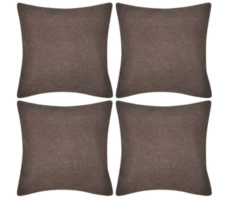 4 Smeđe Jastučnice Linen-look 50 x 50 cm