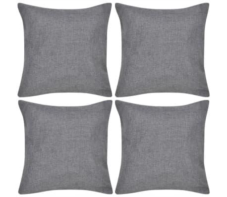 vidaXL 4 Anthracite Cushion Covers Linen-look 40 x 40 cm